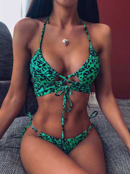 Milanoo Bikini traje de baño para mujer verde con cordones verano sexy trajes de baño