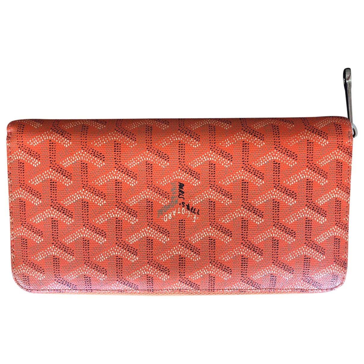 Goyard Matignon Portemonnaie in  Orange Leinen