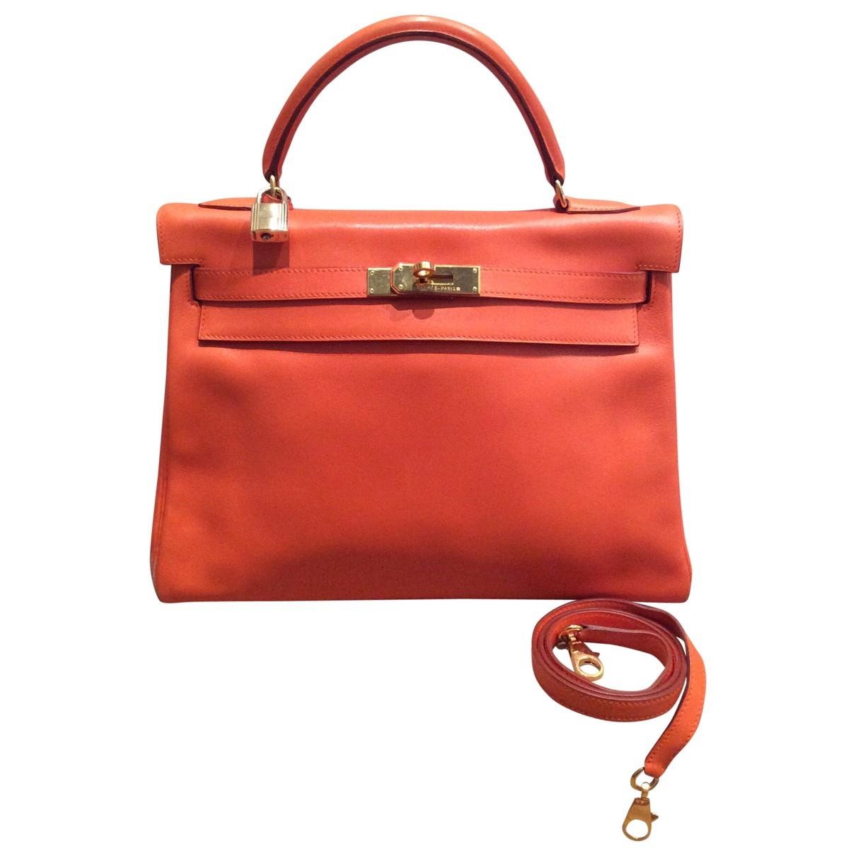 Hermes Kelly 28 Handtasche in  Orange Leder