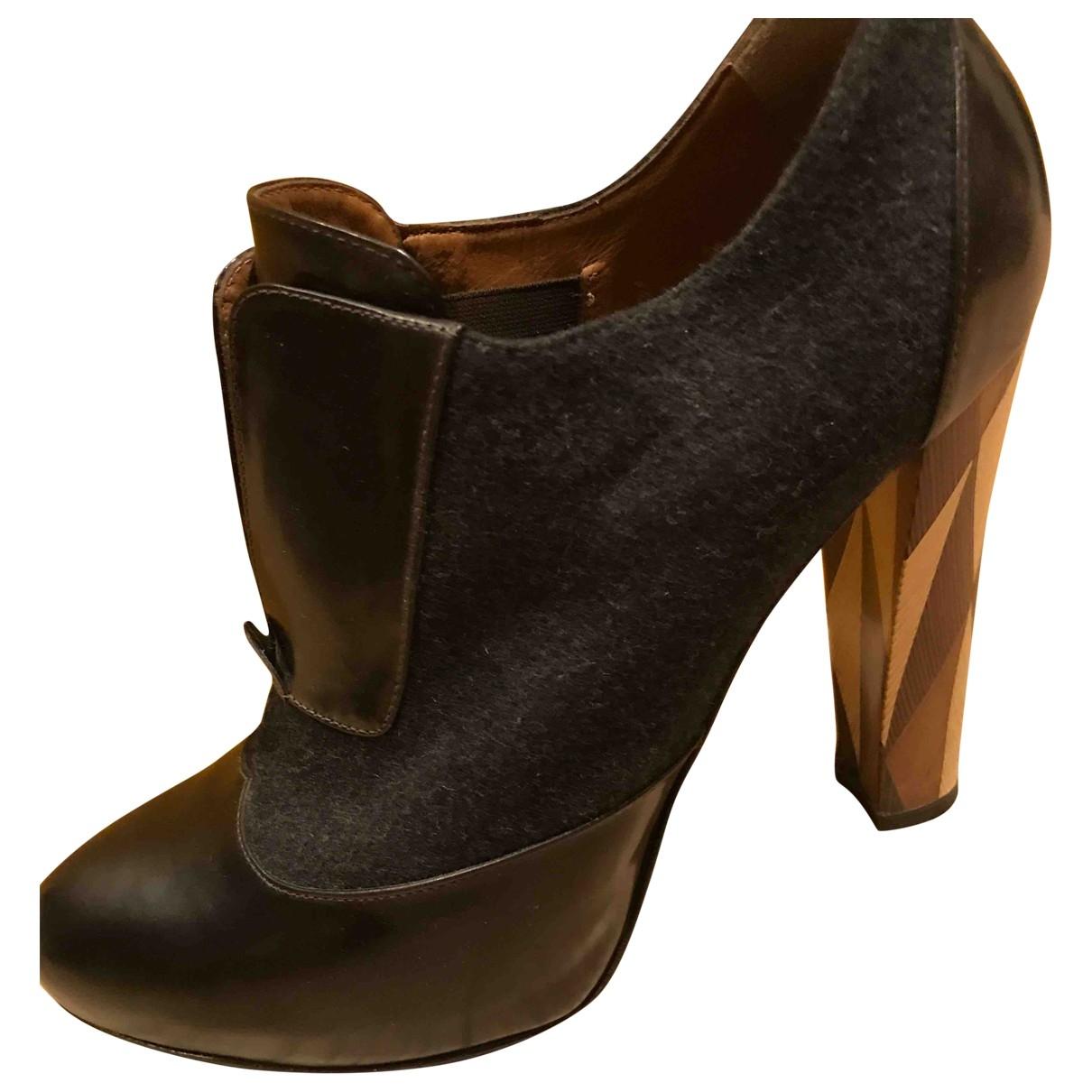 Fendi - Boots   pour femme en cuir - gris