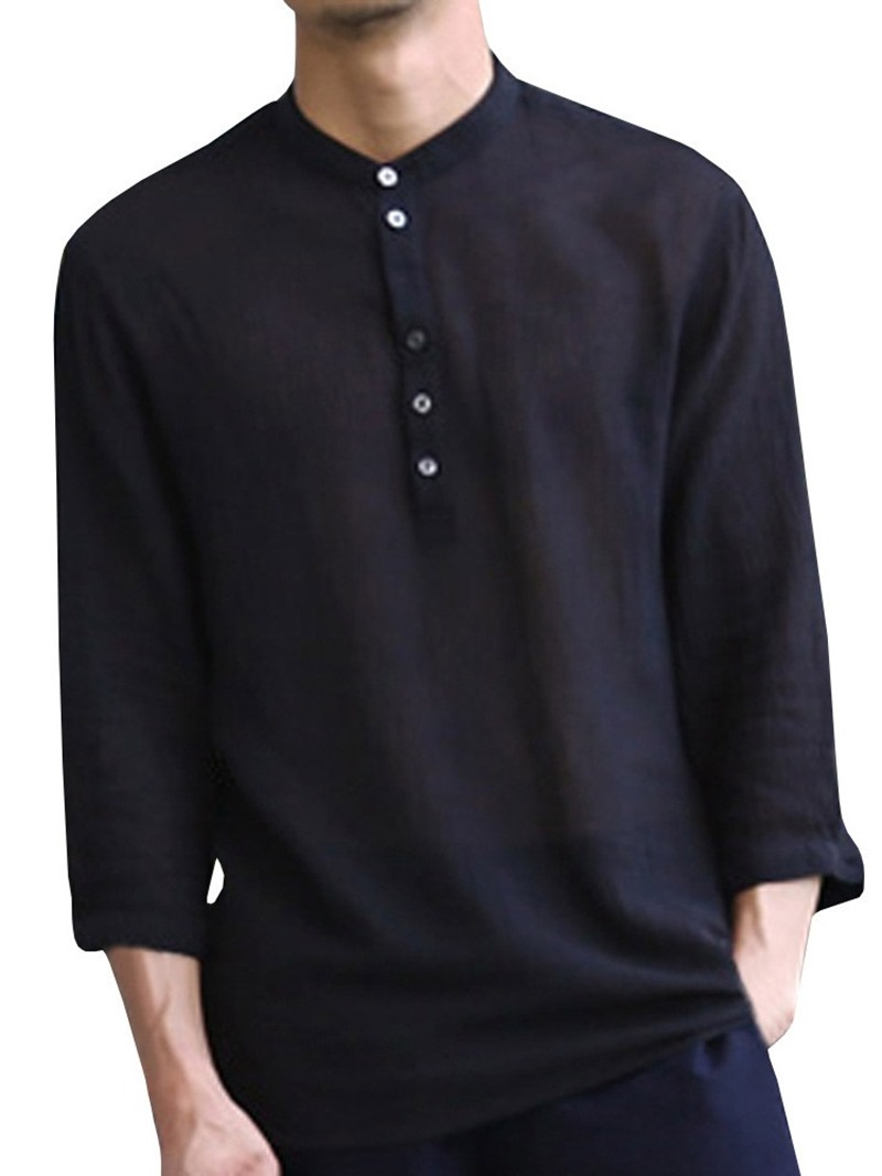 Ericdress Plain Stand Collar Simple Loose Men's Shirt