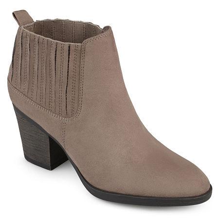 Journee Collection Womens Sero Booties Stacked Heel, 9 Medium, Beige
