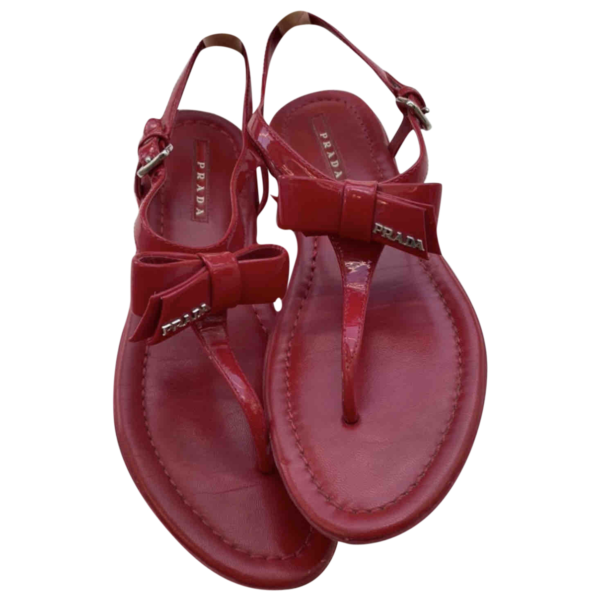 Prada \N Sandalen in  Rot Lackleder