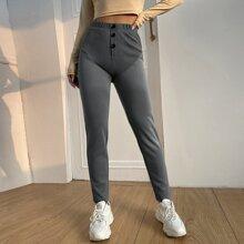 Pantalones de cintura alta panel en contraste