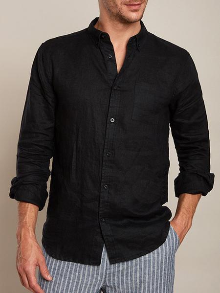 Yoins INCERUN Men Cotton Breathable Comfy Solid Color Button Down Shirt