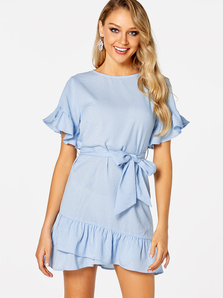 Yoins Blue Belt Design Stripe Round Neck Short Sleeves Flounced Hem Dress