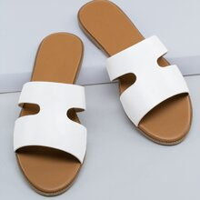 Dual Cut Out Open Toe Flat Slide Sandals