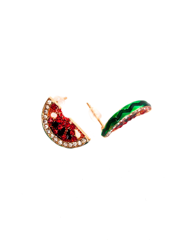 Kostuemzubehor Ohrringe Wassermelone rot/gruen