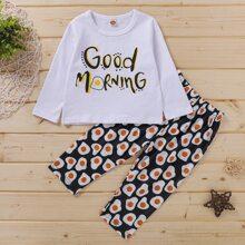 Toddler Girls Slogan And Poached Egg Print PJ Set