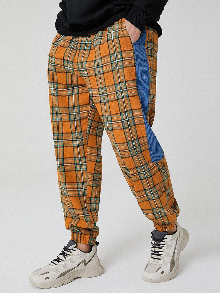 Mens Plaid Side Stripe Cotton Drawstring Jogger Pants With Pocket