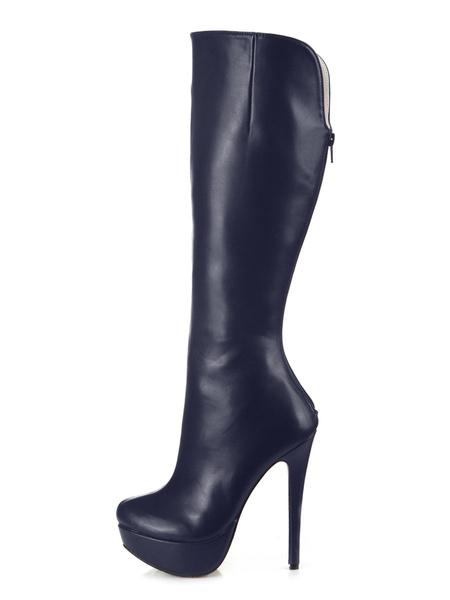 Milanoo de PU de puntera de forma de almendra Botas altas mujer negro  botas altas negras 14cm de tacon de stiletto con cremallera Otoño Invierno