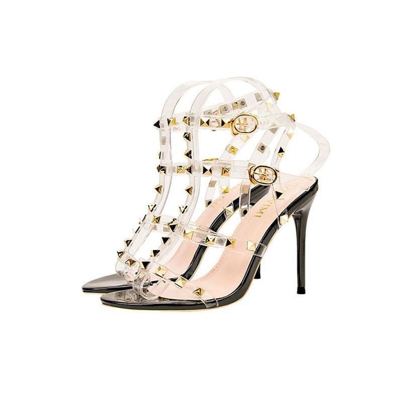 Ericdress Stiletto Heel Line-Style Buckle Open Toe Rivet Sandals