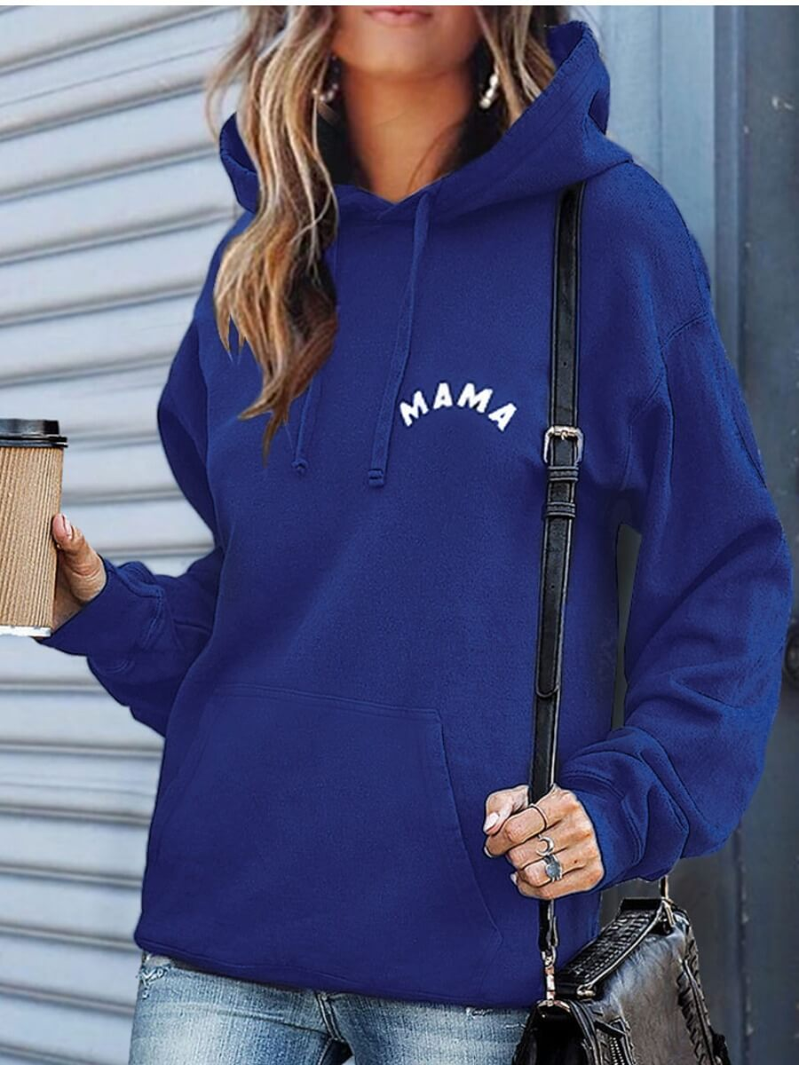 LW Lovely Hooded Collar Letter Printed Blue Hoodie