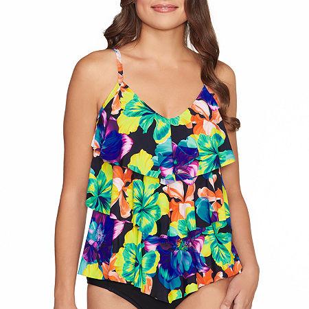 St. John's Bay Floral Tankini Swimsuit Top, 12 , Black