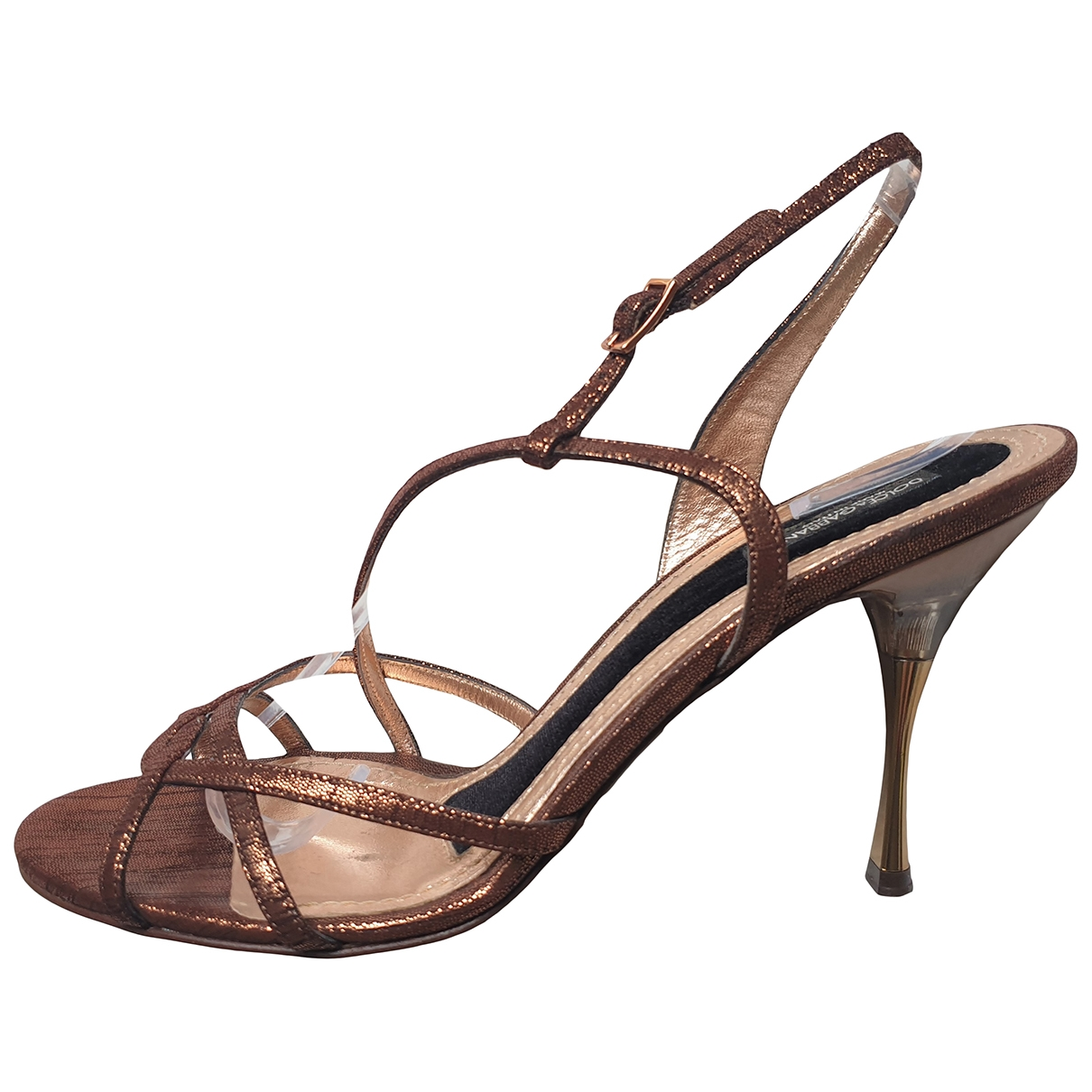 Dolce & Gabbana - Sandales   pour femme en cuir - metallise