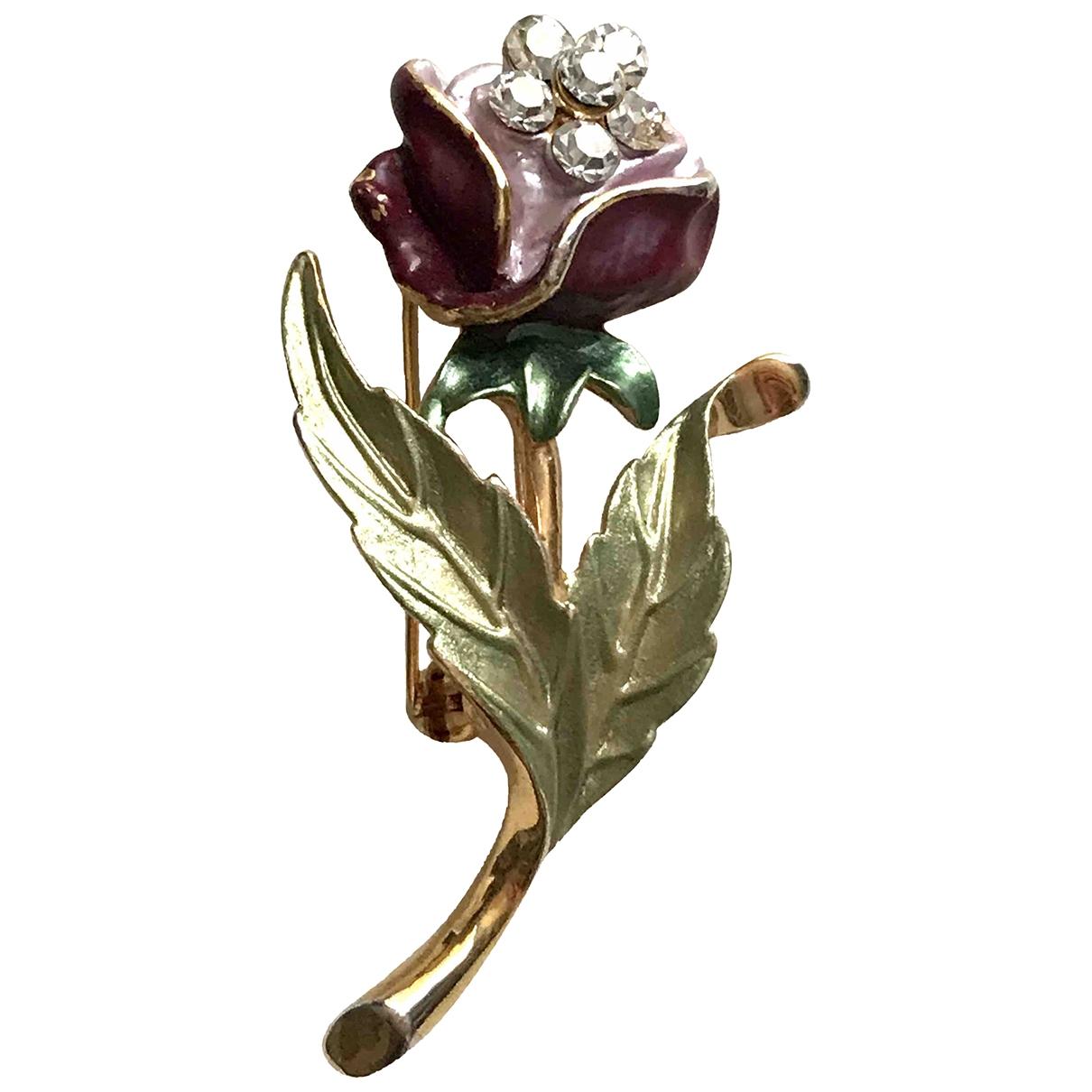Broche Motifs Floraux en Metal Violeta Non Signe / Unsigned