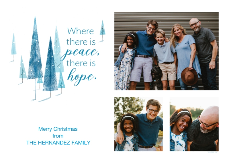 Christmas Photo Cards 5x7 Cards, Standard Cardstock 85lb, Card & Stationery -Peace & Hope Modern Christmas Trees Photo Collage - Large by Hallmark