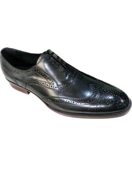 Mens Black Premium Leather Unique Zota Mens Dress Shoe