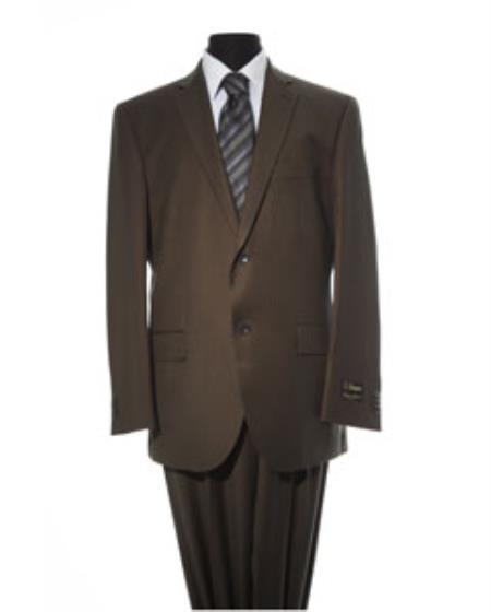 Mens Brown 2 Piece 2 Button Suit