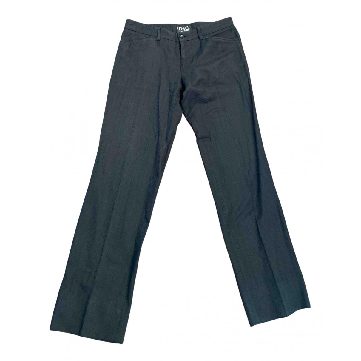 Pantalones en Algodon Negro D&g