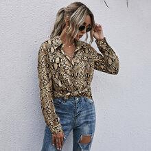 Bluse mit Schlangenleder Muster und Taschen Dekor