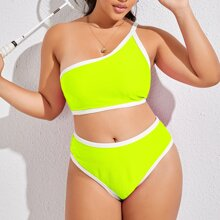 Plus Neon Lime Rib One Shoulder Bikini Swimsuit