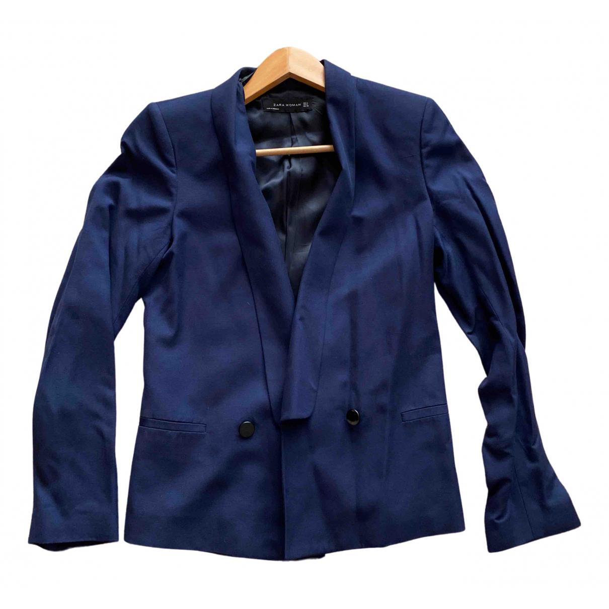 Zara \N Jacke in  Blau Viskose