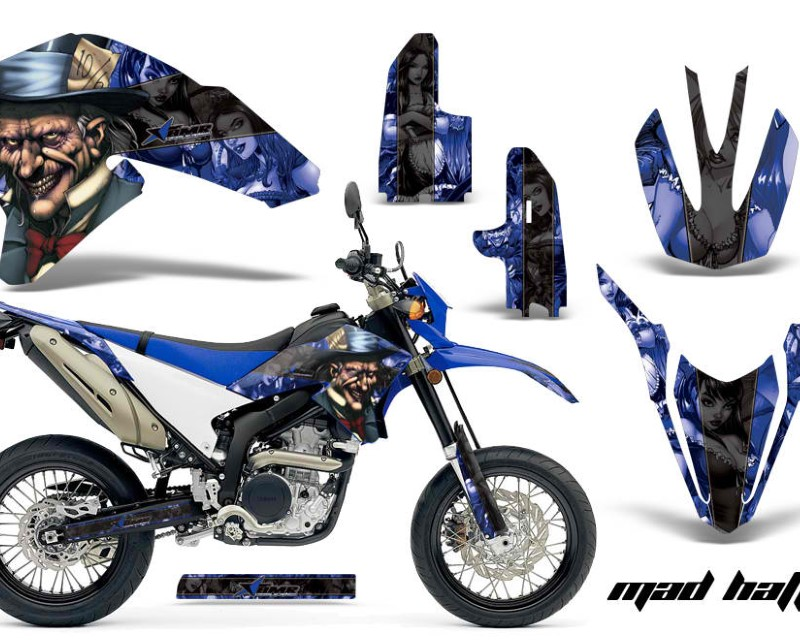 AMR Racing Dirt Bike Decal Graphics Kit Wrap For Yamaha WR250R WR250X 2007-2016áHATTER BLACK BLUE