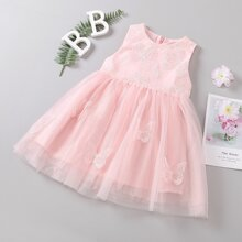 Toddler Girls Butterfly Embroidered Tie Back Tutu Dress