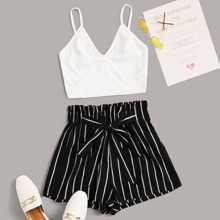 Rib-knit Cami Top & Knotted Paperbag Waist Striped Shorts Set