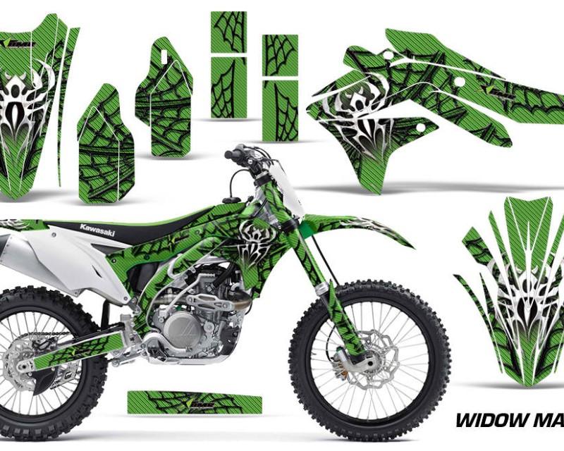 AMR Racing Dirt Bike Decal Graphic Kit Sticker Wrap For Kawasaki KXF450 2016-2018 WIDOW BLACK GREEN