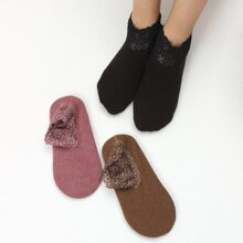 3pairs Solid Warm Ankle Socks