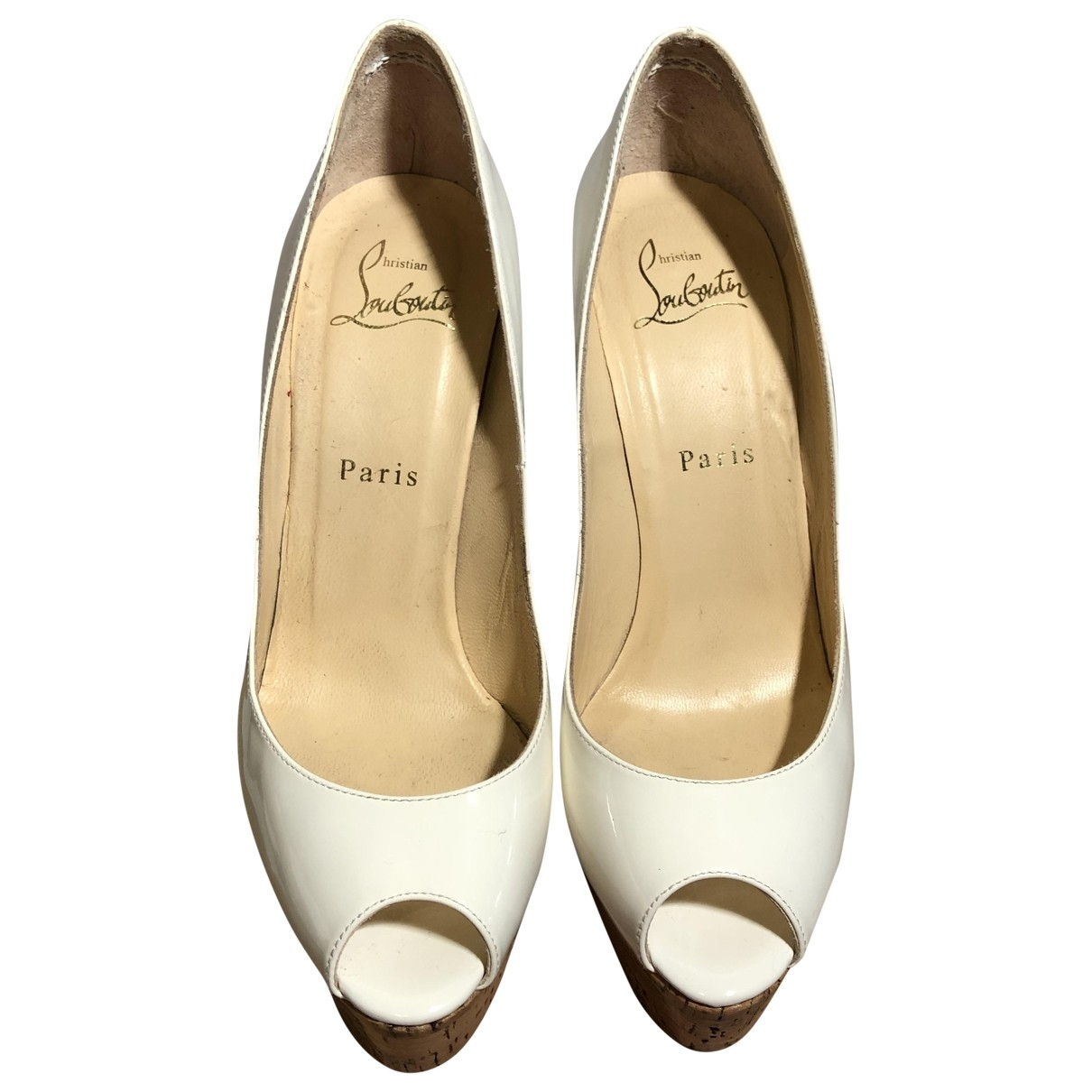 Christian Louboutin \N White Patent leather Heels for Women 37.5 EU