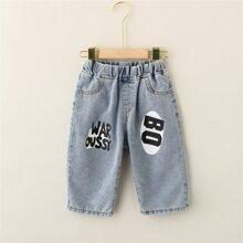 Boys Letter Graphic Denim Shorts