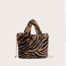 Tiger Pattern Fluffy Tote Bag