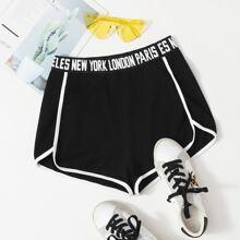 Delphin Shorts mit Buchstaben Muster, Taillenband und Kontrast Bindung