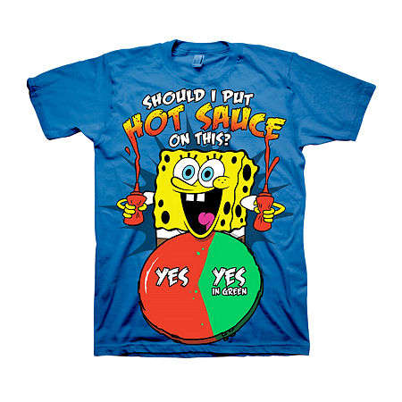 Little & Big Boys Crew Neck Spongebob Short Sleeve Graphic T-Shirt, X-large (18-20) , Blue