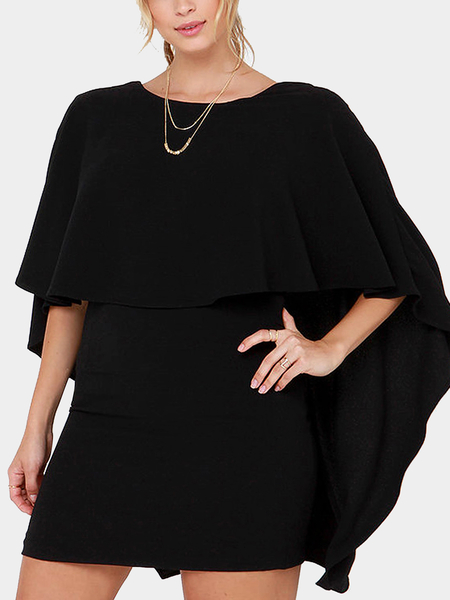 Yoins Cape Backless Party Dress in Black