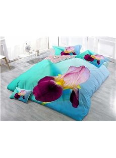 Purple and Pink Iris Tectorum Wear-resistant Breathable High Quality 60s Cotton 4-Piece 3D Bedding Sets
