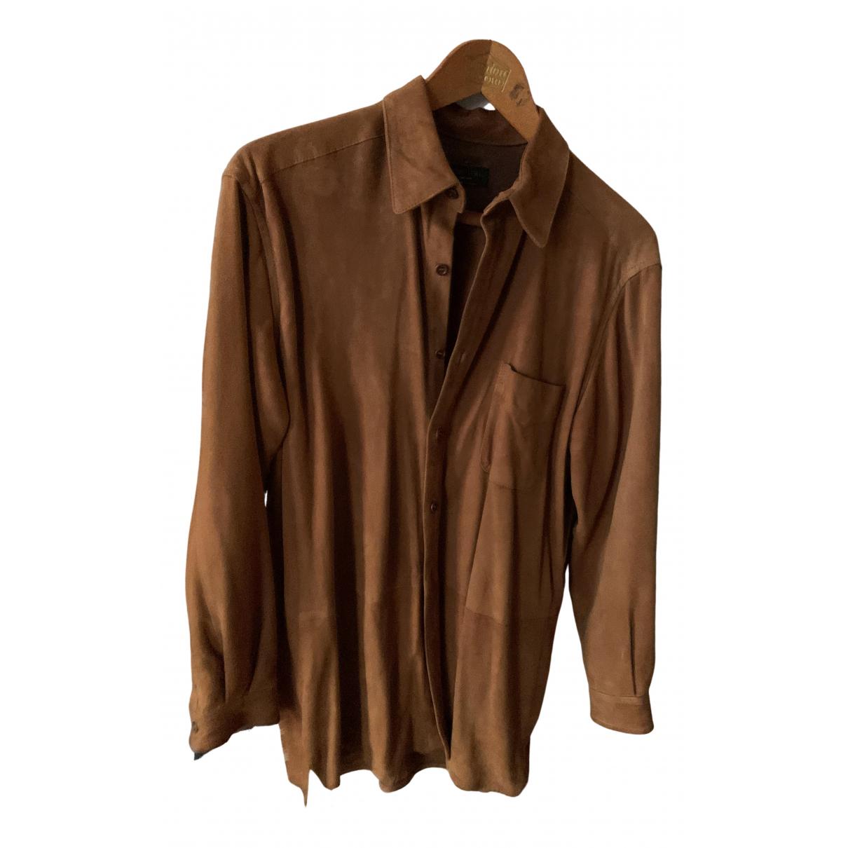 - Chemises   pour homme en suede - camel