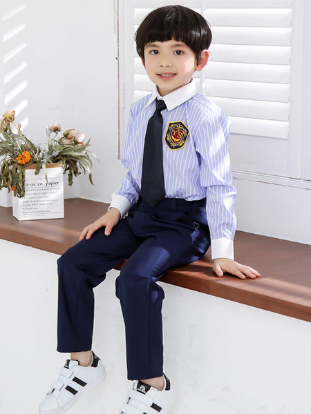 Milanoo Trajes de portador de anillo de algodon de manga larga boda Boy Suits 4 unids