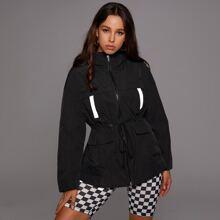 Mantel mit reflektierendem Band, Kordelzug auf Taille und Kapuze