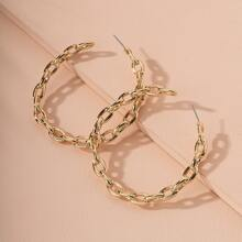 Chain Design Cuff Hoop Earrings
