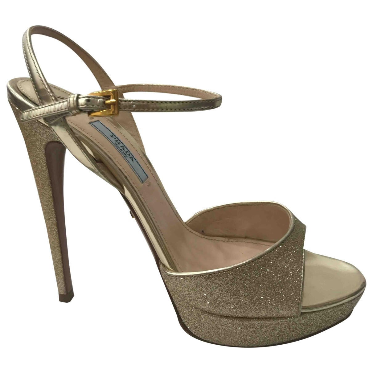 Prada \N Gold Glitter Sandals for Women 38 EU