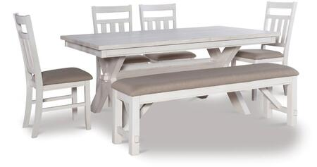 D1249D19PC6W Turino 6 PC Dining Set with 1x Dining Room Chair + 4x Dining Room Chairs + 1x Bench in Distressed