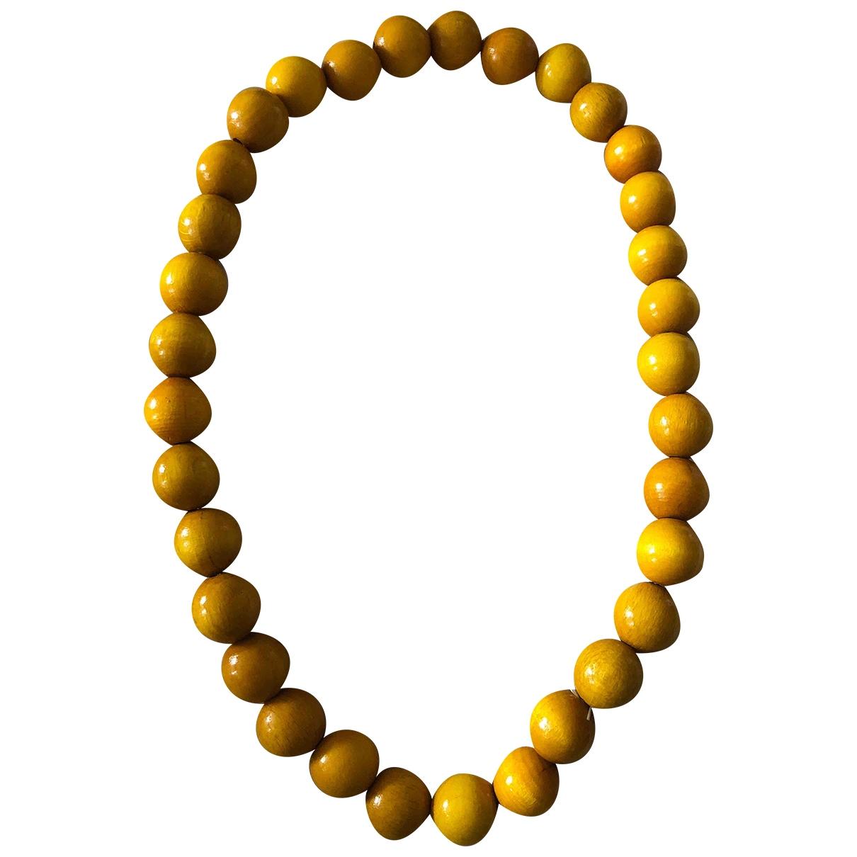 - Collier Motifs Ethniques pour femme en bois - jaune