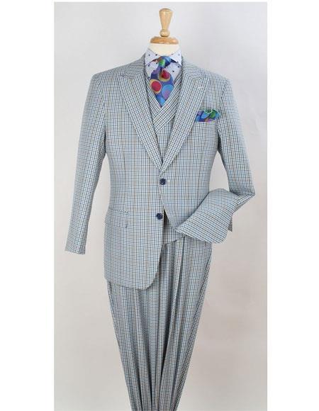 Leg pleated pants  Plaid ~ Window Pane Suit Pearl River Gray