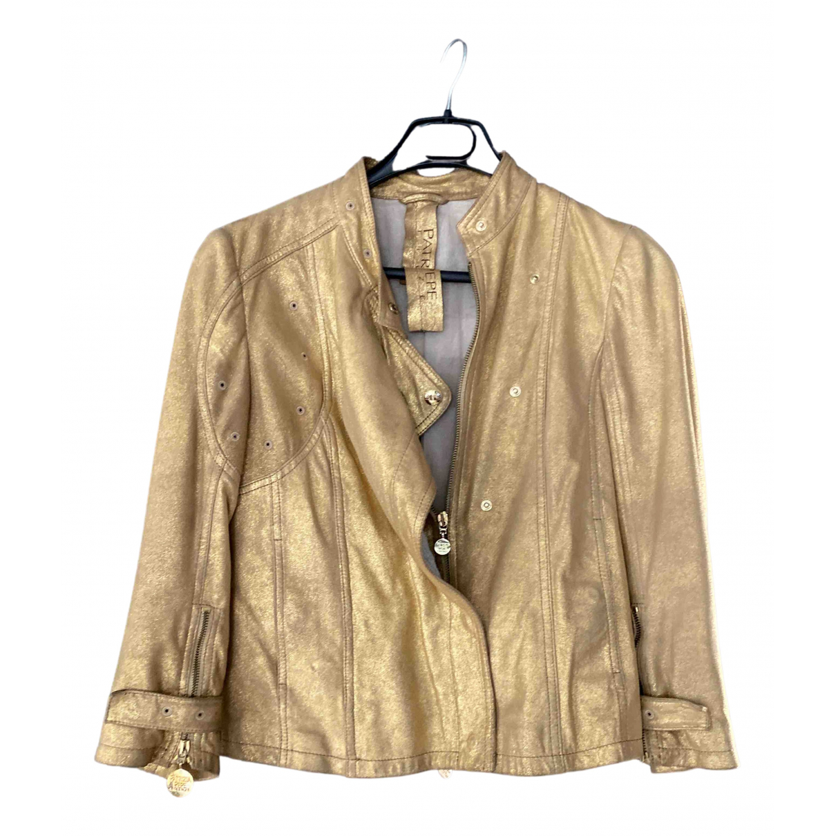 Patrizia Pepe N Gold Leather Leather jacket for Women 44 IT