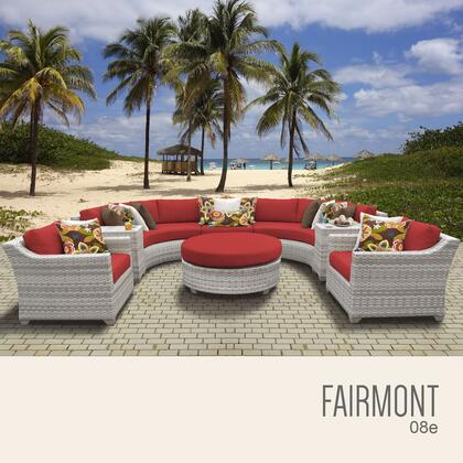 FAIRMONT-08e-TERRACOTTA Fairmont 8 Piece Outdoor Wicker Patio Furniture Set 08e with 2 Covers: Beige and