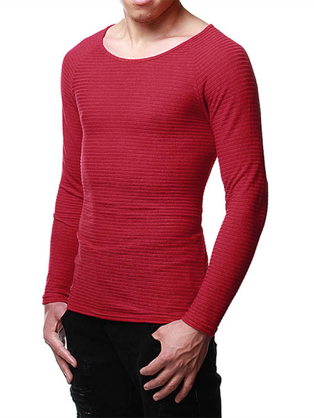 Yoins INCERUN Men Plain Round Neck Sweater